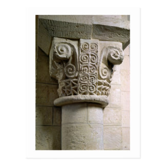 Carved column decorated with croziers and spirals post card