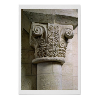 Carved column decorated with croziers and spirals print
