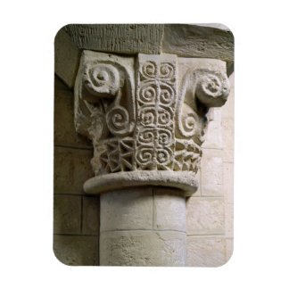 Carved column decorated with croziers and spirals magnets