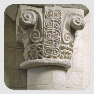 Carved column decorated with croziers and spirals sticker