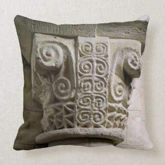 Carved column decorated with croziers and spirals throw pillow