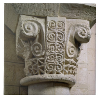 Carved column decorated with croziers and spirals tiles
