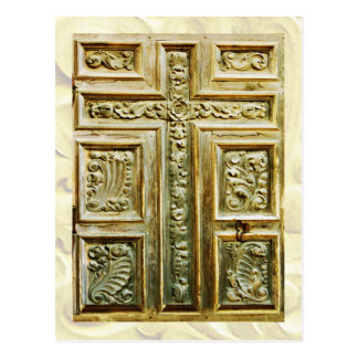 Carved Cross on church door Postcards