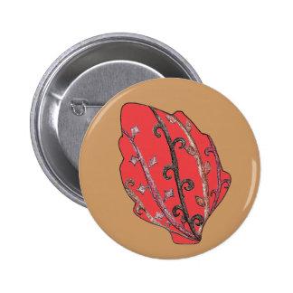 Carved Detail Autumn Leaf Pinback Button