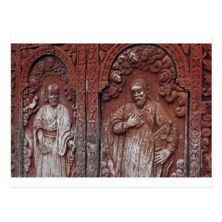 Carved doorway of church postcard