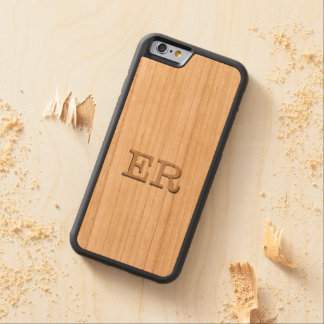 Carved Embossed Monogram Effect on Cherry Wood Carved Cherry iPhone 6 Bumper Case