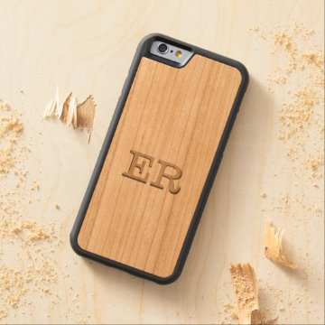 Carved Embossed Monogram Effect on Cherry Wood Carved® Cherry iPhone 6 Bumper at Zazzle