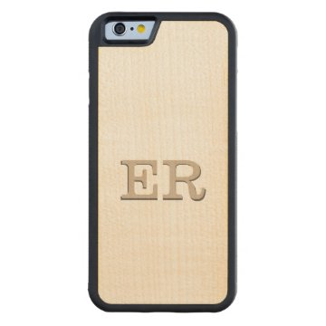 Carved Embossed Monogram Effect on Maple Wood Carved® Maple iPhone 6 Bumper at Zazzle