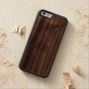 Carved Embossed Monogram Effect on Walnut Wood Carved® Walnut iPhone 6 Bumper Case at Zazzle