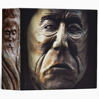 Carved Faces in Wood Vinyl Binder