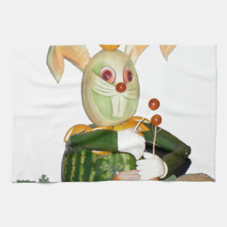 carved fruit beasts drummer bunny towel