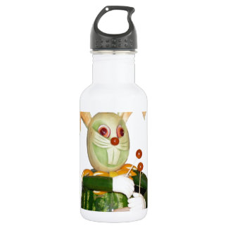 carved fruit beasts drummer bunny stainless steel water bottle