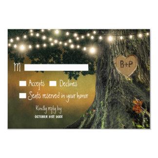 Carved Grandfather Oak Tree Wedding RSVP Cards