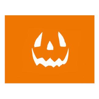 Carved Halloween Pumpkin Face Postcard