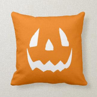 Carved Halloween Pumpkin Face Throw Pillow