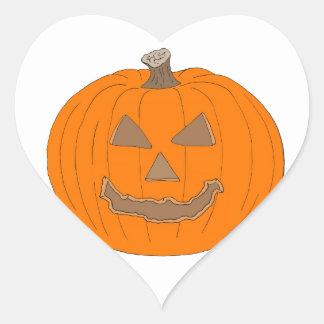 Carved Halloween Pumpkin Pop Art Image Heart Sticker