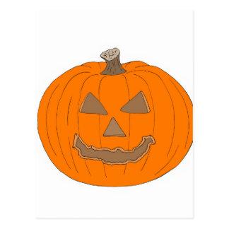 Carved Halloween Pumpkin Pop Art Image Post Card