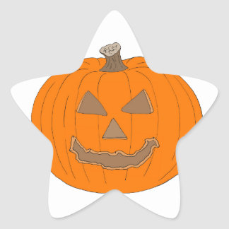 Carved Halloween Pumpkin Pop Art Image Star Sticker