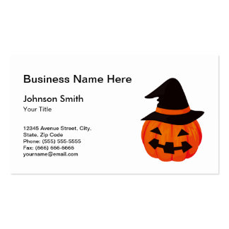 Carved Halloween Pumpkin with Witch Hat Double-Sided Standard Business Cards (Pack Of 100)