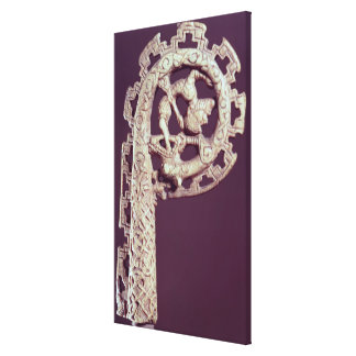 Carved handle of a bishop's crook, bone canvas print