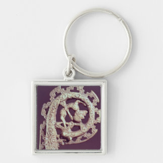 Carved handle of a bishop's crook, bone Silver-Colored square keychain