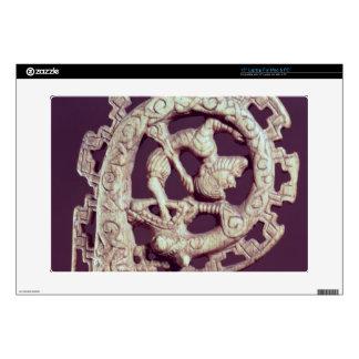 Carved handle of a bishop's crook, bone laptop decals