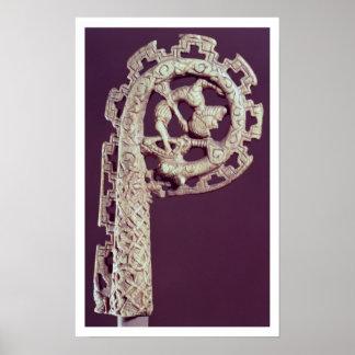 Carved handle of a bishop's crook, bone poster