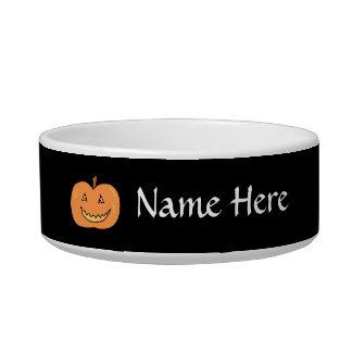 Carved Happy Pumpkin. Halloween. Cat Food Bowl
