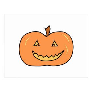 Carved Happy Pumpkin. Halloween. Postcard