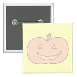 Carved Happy Pumpkin, Pale Colors. Halloween. 2 Inch Square Button