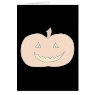 Carved Happy Pumpkin, Pale Colors. Halloween. Greeting Card