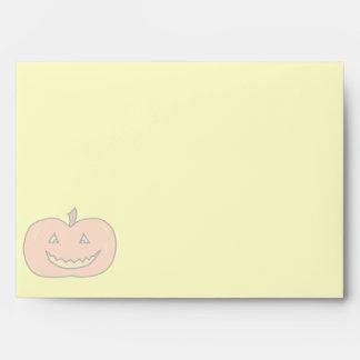Carved Happy Pumpkin, Pale Colors. Halloween. Envelopes
