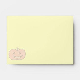 Carved Happy Pumpkin, Pale Colors. Halloween. Envelope