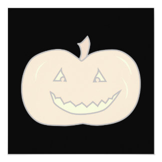Carved Happy Pumpkin, Pale Colors. Halloween. 5.25x5.25 Square Paper Invitation Card