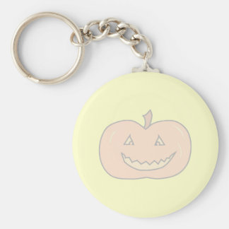 Carved Happy Pumpkin, Pale Colors. Halloween. Basic Round Button Keychain