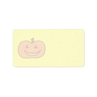 Carved Happy Pumpkin, Pale Colors. Halloween. Address Label