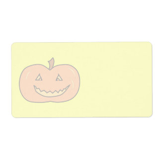 Carved Happy Pumpkin, Pale Colors. Halloween. Shipping Label
