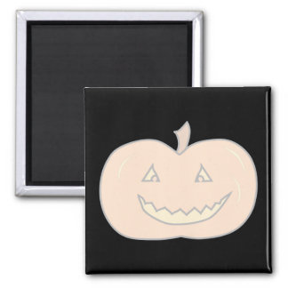 Carved Happy Pumpkin, Pale Colors. Halloween. 2 Inch Square Magnet