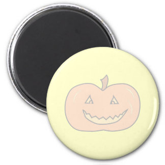 Carved Happy Pumpkin, Pale Colors. Halloween. 2 Inch Round Magnet