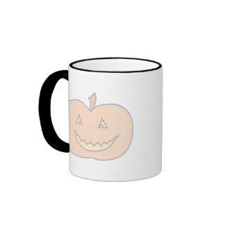 Carved Happy Pumpkin, Pale Colors. Halloween. Ringer Coffee Mug