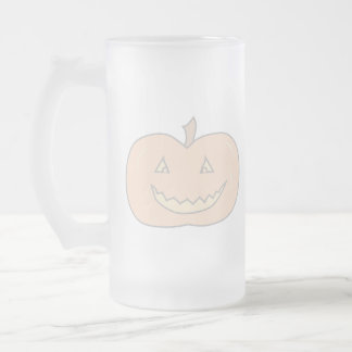 Carved Happy Pumpkin, Pale Colors. Halloween. 16 Oz Frosted Glass Beer Mug