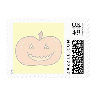 Carved Happy Pumpkin, Pale Colors. Halloween. Postage Stamp