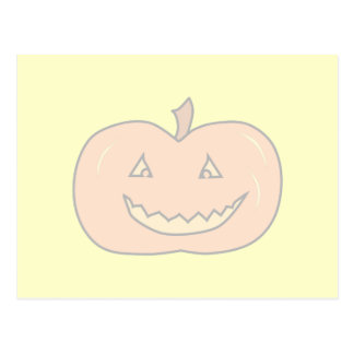 Carved Happy Pumpkin, Pale Colors. Halloween. Post Card