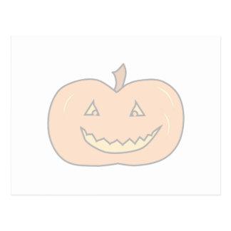 Carved Happy Pumpkin, Pale Colors. Halloween. Postcard