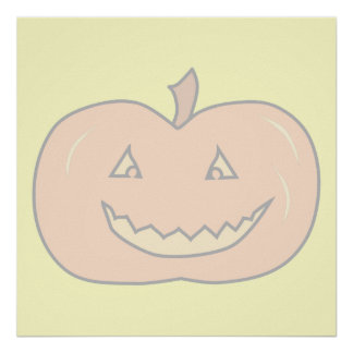 Carved Happy Pumpkin, Pale Colors. Halloween. Poster