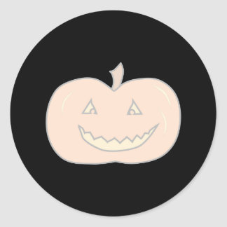 Carved Happy Pumpkin, Pale Colors. Halloween. Classic Round Sticker