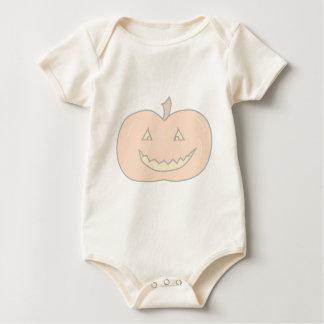 Carved Happy Pumpkin, Pale Colors. Halloween. Romper