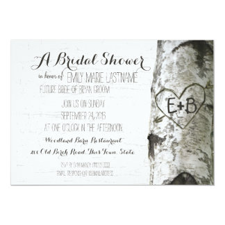 Carved Heart Birch Tree Bridal Shower 5x7 Paper Invitation Card