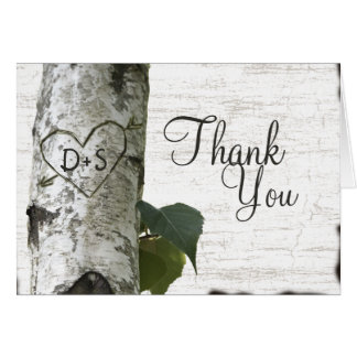 Carved Heart Birch Tree Thank You Stationery Note Card