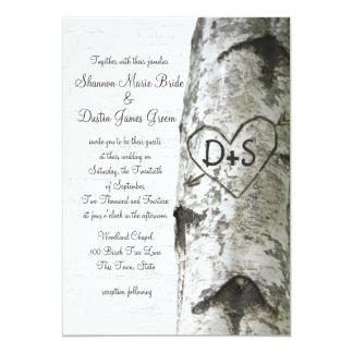 Carved Heart Birch Tree Wedding Card